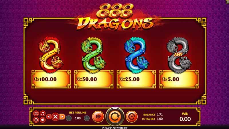การจ่ายรางวัล 888 Dragons