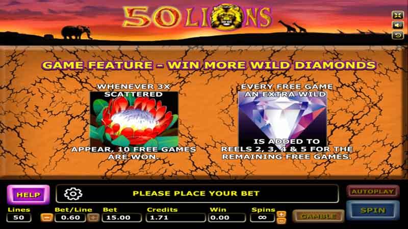 รีวิว Fifty Lions slot สล็อต