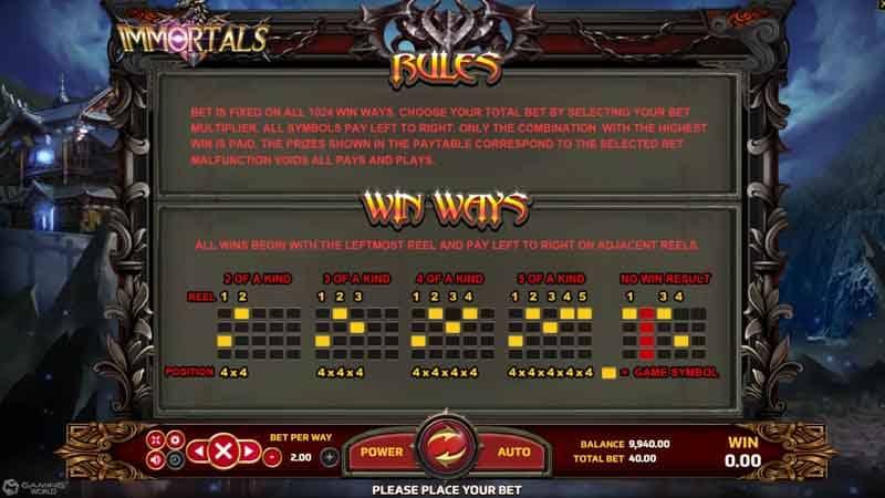 เพย์ไลน์ สล็อต Immortals slot